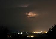 Ellenville, New York -  Lightning from a thunderstorm lights up clouds above Ellenville  on July 17, 2010.