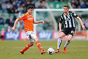 Luton Town's Dan Potts and Plymouth Argyle's Jordan Houghton during the Sky Bet League 2 match between Plymouth Argyle and Luton Town at Home Park, Plymouth, England on 19 March 2016. Photo by Graham Hunt.