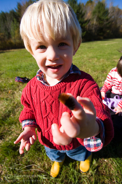 A young boy (age 2) studies a caterpillar on the Common Pasture in Newburyport, MA. MR