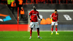 Famara Diedhiou of Bristol City celebrates at the final whistle  -Mandatory by-line: Nizaam Jones/JMP - 18/01/2020 - FOOTBALL - Ashton Gate - Bristol, England - Bristol City v Barnsley - Sky Bet Championship