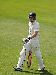 Dejection for Durham's Scott Borthwick after being dismissed for 94. - Photo mandatory by-line: Harry Trump/JMP - Mobile: 07966 386802 - 13/04/15 - SPORT - CRICKET - LVCC County Championship - Day 2 - Somerset v Durham - The County Ground, Taunton, England.