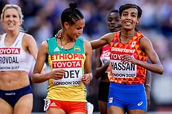 10-08-2017 IAAF World Championships Athletics day 7, London<br /> Sifan Hassan NED loopt vrij gemakkelijk naar de tweede plaats in haar heat en plaatst zich voor de finale op de 5000 meter