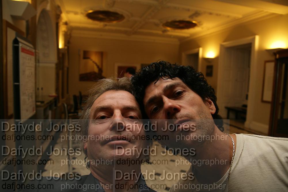 Dafydd Jones and Tim Noble, Georg Baselitz, Royal Academy. 18 September 2007. -DO NOT ARCHIVE-© Copyright Photograph by Dafydd Jones. 248 Clapham Rd. London SW9 0PZ. Tel 0207 820 0771. www.dafjones.com.