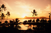 Sunset, Moorea in Background, Tahiti, French Polynesia