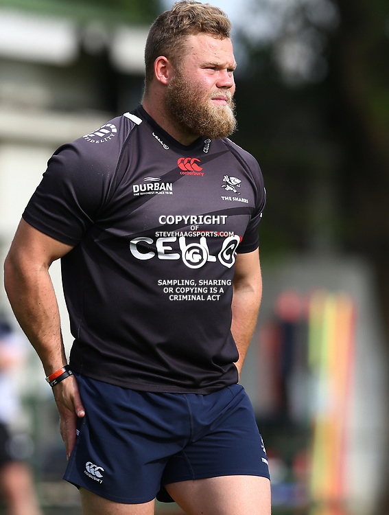 Armand &lsquo;Akker&rsquo; van der Merwe during The Cell C Sharks training session at Growthpoint Kings Park in Durban, South Africa. 21 August 2017(Photo by Steve Haag)<br /> <br /> images for social media must have consent from Steve Haag