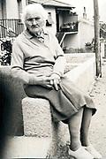 elderly woman sitting outside France 1970