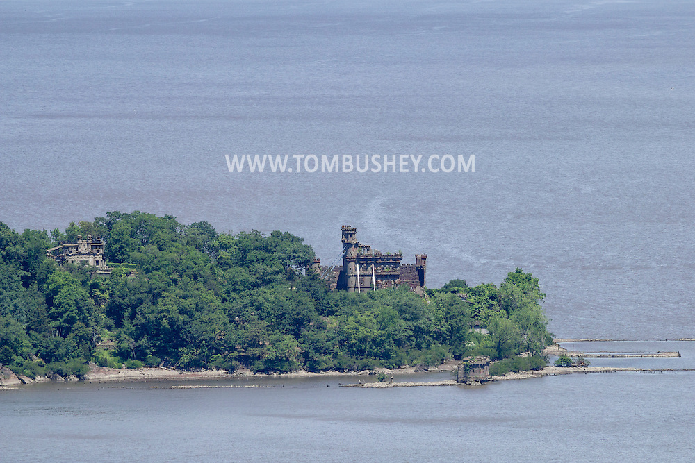 Cornwall-on-Hudson, New York - A view of Bannerman's Island Arsenal on Pollepel Island in the Hudson River from Storm King Mountain State Park on June 20, 2014. ©Tom Bushey / The Image Works