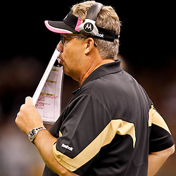 October 3, 2010; New Orleans, LA, USA; New Orleans Saints defensive coordinator Gregg Williams calls a play from the sideline during a game at the Louisiana Superdome. The Saints defeated the Panthers 16-14. Mandatory Credit: Derick E. Hingle