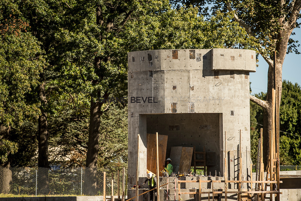 9/30/16 10:10:30 AM -- Lodge construction update. Mist Mountain Foundations, Peggy's Pond Rock install. <br /> <br /> Photo by Shane Bevel