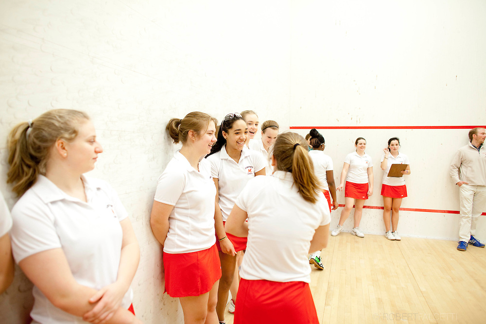 The Pomfret School, Pomfret, CT. 2010-2011. Girls Varsity Squash on the campus of the Pomfret School, a New England college preparatory boarding and day school. (Photo by Robert Falcetti).Admissions marketing & communications  photography-New England Private Independent School - New England Boarding Schools viewbook image. .