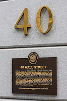 40 wall street plaque in New York October 2008