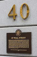 40 wall street plaque in New York October 2008