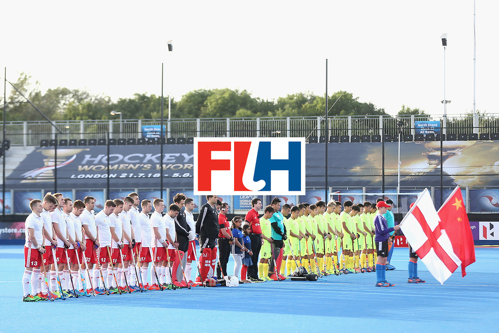 LONDON, ENGLAND - JUNE 15:  Players, officals and fans take part in a minutes silence for the victims of the Grenfell Tower Tragedy prior to the Hero Hockey World League Semi Final match between England and China at Lee Valley Hockey and Tennis Centre on June 15, 2017 in London, England.  (Photo by Alex Morton/Getty Images)