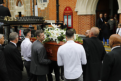 © Licensed to London News Pictures. 29/06/2017. London, UK. Funeral of Grenfell fire victim Tony Disson in the Notting Hill area of west London takes place on 29 June 2017. Mr Disson is one of only a handful of the 80 victims to have been identified and named so far. Photo credit: Tolga Akmen/LNP