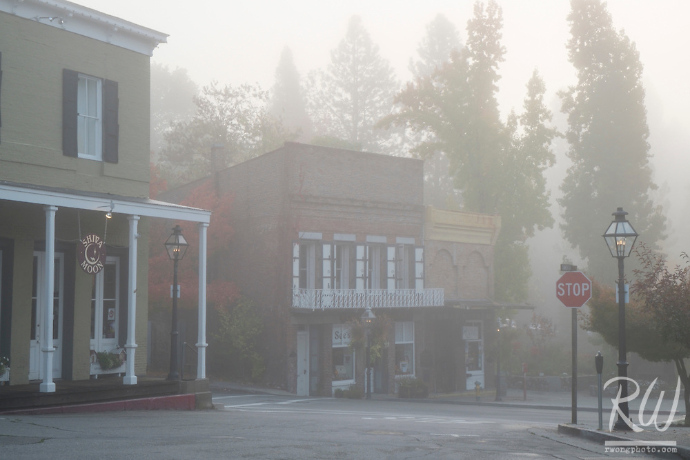Foggy Autumn Morning on Main Street, Nevada City, California