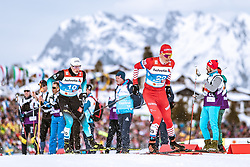 21.02.2019, Langlauf Arena, Seefeld, AUT, FIS Weltmeisterschaften Ski Nordisch, Seefeld 2019, Langlauf, Herren, Sprint, im Bild v.l.: Lucas Chanavat (FRA), Alexander Bolshunov (RUS) // f.l.: Lucas Chanavat of France Alexander Bolshunov of Russian Federation during the men's Sprint competition of the FIS Nordic Ski World Championships 2019. Langlauf Arena in Seefeld, Austria on 2019/02/21. EXPA Pictures © 2019, PhotoCredit: EXPA/ Dominik Angerer