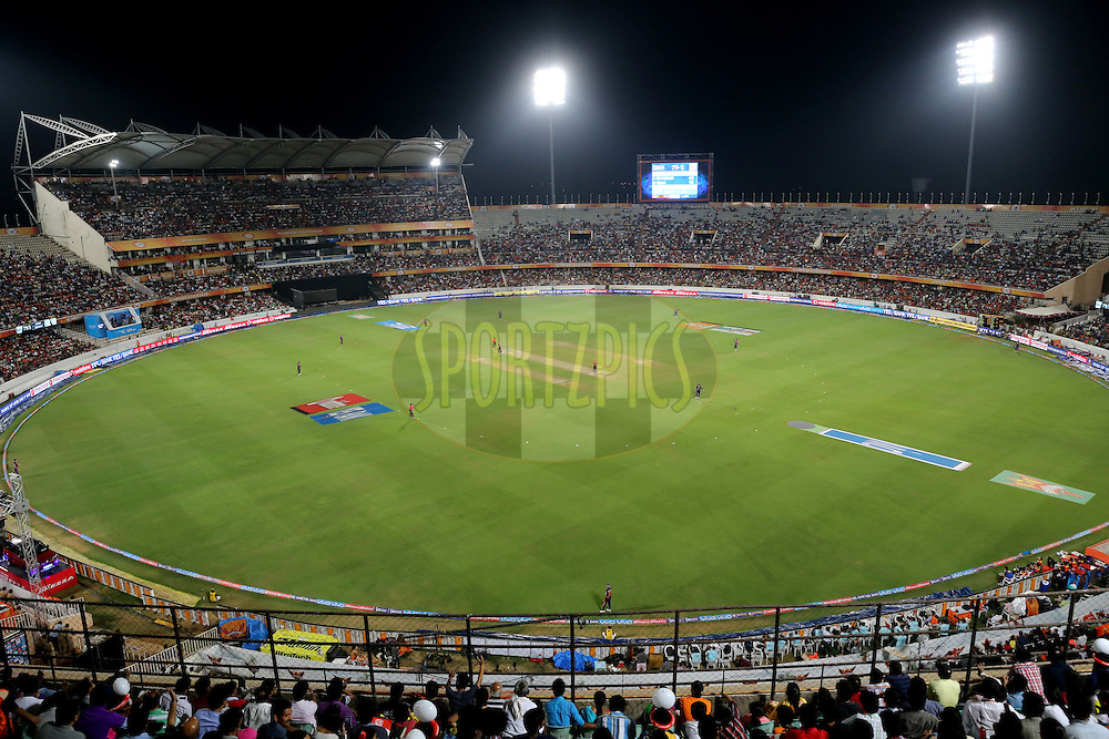 A general view during match 22 of the Vivo IPL 2016 (Indian Premier League ) between the Sunrisers Hyderabad and the Rising Pune Supergiants held at the Rajiv Gandhi Intl. Cricket Stadium, Hyderabad on the 26th April 2016<br /> <br /> Photo by Faheem Hussain / IPL/ SPORTZPICS
