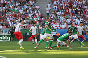 Poland Arkadiusz Milik shoots and scores 1-0 during the Euro 2016 match between Poland and Northern Ireland at the Stade de Nice, Nice, France on 12 June 2016. Photo by Phil Duncan.