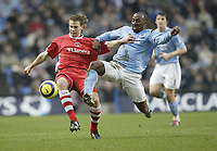 Photo: Aidan Ellis.<br /> Manchester City v Charlton Athletic. The Barclays Premiership. 12/02/2006.<br /> City's Darius Vassell and Charlton's Johnathon Spector
