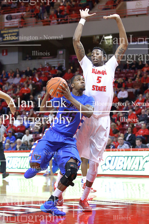 22 December 2013:  Durrell McDonald clears Jamaal Samuel for a chance at a bucket during an NCAA  mens basketball game between the Blue Demons of DePaul falling to  the Illinois State Redbirds 69-64 in Redbird Arena, Normal IL