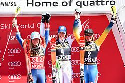 18.03.2017, Aspen, USA, FIS Weltcup Ski Alpin, Finale 2017, Slalom, Damen, Siegerehrung, im Bild Mikaela Shiffrin (USA, 2. Platz und Slalom-Weltcupsiegerin)Petra Vlhova (SVK, 1. Platz)Frida Hansdotter (SWE, 3. Platz) // ssecond placed and Slalom World Cup winner Mikaela Shiffrin of the USArace winner Petra Vlhova of Slovakiathird placed Frida Hansdotter of Sweden during the winner award ceremony for the ladie's Slalom of 2017 FIS ski alpine world cup finals. Aspen, United Staates on 2017/03/18. EXPA Pictures © 2017, PhotoCredit: EXPA/ Erich Spiess