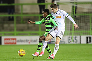 Forest Green Rovers Reece Brown(10) shields the ball from Swansea City's Adnan Maric during the EFL Trophy match between Forest Green Rovers and U21 Swansea City at the New Lawn, Forest Green, United Kingdom on 31 October 2017. Photo by Shane Healey.