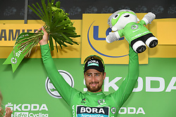 July 14, 2018 - Amiens Metropole, FRANCE - Slovak Peter Sagan of Bora-Hansgrohe wearing the green jersey of the points leader celebrate on the podium after the eighth stage of the 105th edition of the Tour de France cycling race, from Dreux to Amiens Metropole (181 km), in France, Saturday 14 July 2018. This year's Tour de France takes place from July 7th to July 29th...BELGA PHOTO DAVID STOCKMAN (Credit Image: © David Stockman/Belga via ZUMA Press)