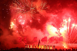 © London news Pictures. 21/06/2017. Glastonbury, UK. The A firework and bonfire display on day one of the 2017 Glastonbury Festival. The five-day festival of contemporary performing arts is the highlight of the British festival season. Photo credit: Jason Bryant/LNP
