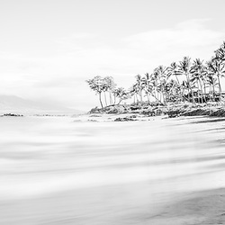 Maui Hawaii Mōkapu Beach black and white photo in Wailea Makena with Maalaea Bay in the Pacific Ocean. Copyright ⓒ 2019 Paul Velgos with All Rights Reserved.