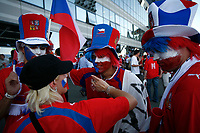 Photo: Steve Bond.<br /> USA v Czech Republic. Group E, FIFA World Cup 2006. 12/06/2006.<br /> Czech fans apply the finishing touches before their game with USA in Gelsenkirchen.