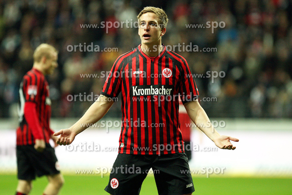 02.11.2012, Commerzbank Arena, Frankfurt, GER, 1. FBL, Eintracht Frankfurt vs SpVgg Greuther Fuerth, 10. Runde, im Bild Stefan Oczipka (Frankfurt) moniert eine falsche Entscheidung, Freisteller // during the German Bundesliga 10th round match between Eintracht Frankfurt and SpVgg Greuther Fuerth at the Commerzbank Arena, Frankfurt, Germany on 2012/11/02. EXPA Pictures © 2012, PhotoCredit: EXPA/ Eibner/ Bildpressehaus..***** ATTENTION - OUT OF GER *****