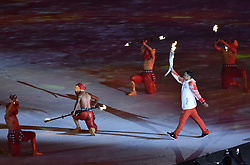 JAKARTA, Aug. 18, 2018  A torchbearer enters the Gelora Bung Karno (GBK) Main Stadium at the opening ceremony of the 18th Asian Games in Jakarta, Indonesia, Aug. 18, 2018. (Credit Image: © Li He/Xinhua via ZUMA Wire)