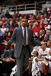 February 3, 2011; Stanford, CA, USA;  Stanford Cardinal head coach Johnny Dawkins argues a call on the sidelines against the Arizona Wildcats during the first half at Maples Pavilion.