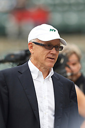 Sep 25, 2011; Oakland, CA, USA;  New York Jets owner Woody Johnson on the sidelines before the game against the Oakland Raiders at O.co Coliseum.