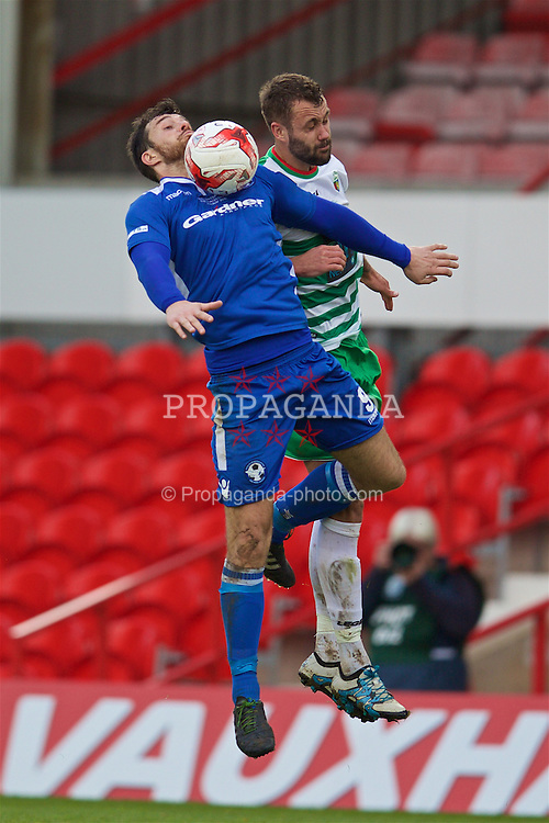 WREXHAM, WALES - Monday, May 2, 2016: Airbus UK Broughton's Chris Budrys in action against The New Saints during the 129th Welsh Cup Final at the Racecourse Ground. (Pic by David Rawcliffe/Propaganda)