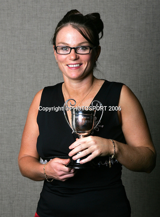 Emily Drumm, The Ruth Martin Cup winner for the most meritorious batting performances in women's cricket, shows off her trophy at the New Zealand Cricket Awards held at Langham Hotel, Auckland, on Thursday 30 March, 2006. Photo: Andrew Cornaga/PHOTOSPORTduring the New Zealand Cricket Awards held at Langham Hotel, Auckland, on Thursday 30 March, 2006. Photo: Andrew Cornaga/PHOTOSPORT
