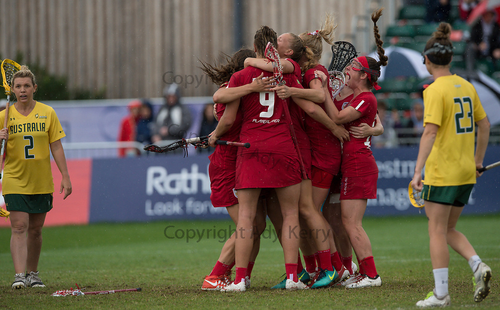 England's players celebrate a goal against Australia in the bronze medal match which they won with a Golden Goal in extra time at the 2017 FIL Rathbones Women's Lacrosse World Cup, at Surrey Sports Park, Guildford, Surrey, UK, 22nd July 2017.