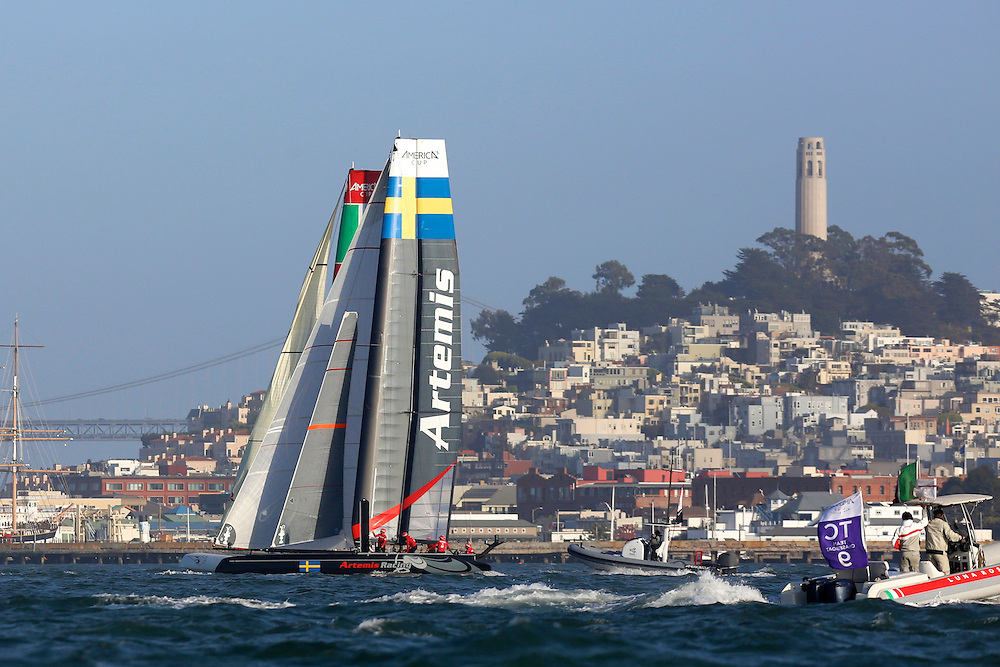 Artemis Racing  races in  the first heat of the fleet race at the America's Cup World Series in San Francisco.  J.P. Morgan BAR wins the heat.Mandatory Credit: Dinno Kovic