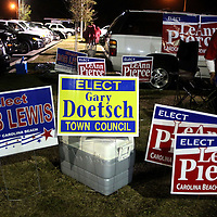 Signs for candidates are posted outside of the Carolina Beach Recreation Center. (Jason A. Frizzelle)