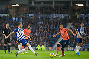 Dale Stephens (Brighton) & Richarllison (Everton) during the Premier League match between Brighton and Hove Albion and Everton at the American Express Community Stadium, Brighton and Hove, England on 26 October 2019.