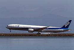All Nippon Airways ANA Boeing 777-381ER (JA778A) lands at San Francisco International Airport (SFO), Millbrae, California, United States of America