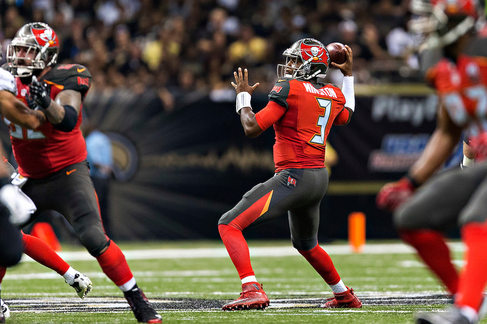 NEW ORLEANS, LA - SEPTEMBER 20:  Jameis Winston #3 of the Tampa Bay Buccaneers throws a pass during a game against the New Orleans Saints at Mercedes-Benz Superdome on September 20, 2015 in New Orleans Louisiana. The Buccaneers defeated the Saints 26-19.   (Photo by Wesley Hitt/Getty Images) *** Local Caption *** Jameis Winston