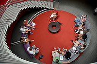New students and counselors chat in Talley Student Union during orientation.