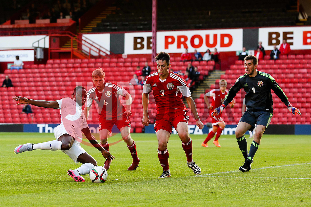 Saido Berahino of England fires a shot towards goal   - Photo mandatory by-line: Matt McNulty/JMP - Mobile: 07966 386802 - 11/06/2015 - SPORT - Football - Barnsley - Oakwell Stadium - England U21 v Belarus U21 - International Friendly U21s