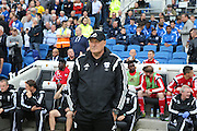 Cardiff City first team mamager Russell Slade during the Sky Bet Championship match between Brighton and Hove Albion and Cardiff City at the American Express Community Stadium, Brighton and Hove, England on 3 October 2015.