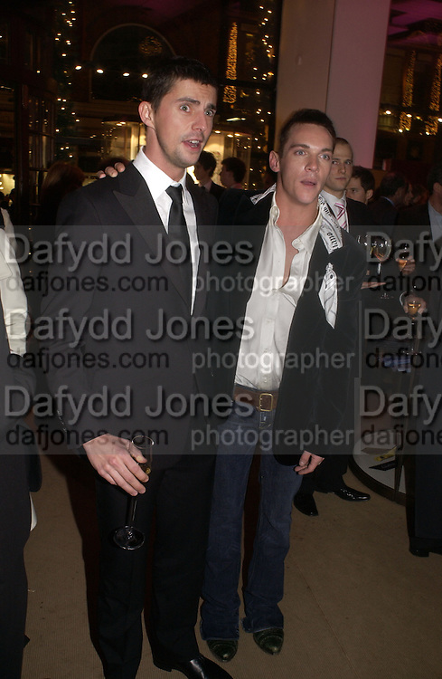 """Matthew Goode and  Jonathan Rhys-Meyers.  The after show party following the UK Premiere of """"Match Point,"""" at Asprey, New Bond st. London.   December 18 2005 ,  ONE TIME USE ONLY - DO NOT ARCHIVE  © Copyright Photograph by Dafydd Jones 66 Stockwell Park Rd. London SW9 0DA Tel 020 7733 0108 www.dafjones.com"""