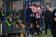 CTFC players celebrate a goal with the dugout during the Vanarama National League match between FC Halifax Town and Cheltenham Town at the Shay, Halifax, United Kingdom on 3 October 2015. Photo by Antony Thompson.