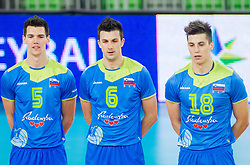 Alen Sket #5 of Slovenia, Mitja Gasparini #6 of Slovenia and Klemen Cebulj #18 of Slovenia during volleyball match between National Teams of Slovenia and Croatia in 2nd leg of Eurovolley 2013 Qualifications on June 8, 2013 in Arena Stozice, Ljubljana, Slovenia. Slovenia defeated Croatia 3-0 and qualified to Euro 2013. (Photo By Vid Ponikvar / Sportida)