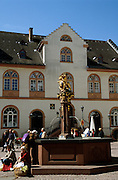 Deutschland Germany Hessen.Hessen, Wiesbaden.Altes Rathaus mit Marktbrunnen (Barock 1753)., Old guildhall, market well...
