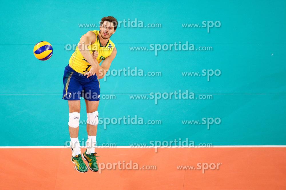 Bruno Mossa Rezende of Brazil during friendly volleyball match between national teams of Slovenia and Brasil in Arena Stozice on 9. September 2015 in , Ljubljana, Slovenia. Photo by Matic Klansek Velej / Sportida